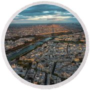 Shadow Of The Eiffel Tower Round Beach Towel
