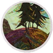 Shadow Of The Evening Round Beach Towel