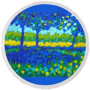 Shadow Trees Round Beach Towel