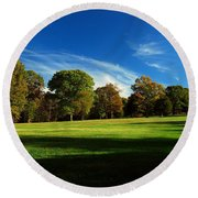 Shadows And Trees Of The Afternoon - Monmouth Battlefield Park Round Beach Towel