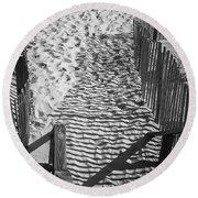 Shadows In The Sand Round Beach Towel