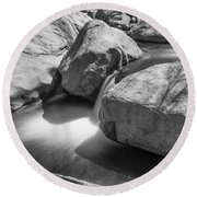 Shadows Of A Creek In Black And White Round Beach Towel