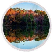 Shadows Of Reflection Round Beach Towel
