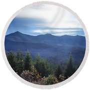 Shadows Of The Majestic , White Mountains Round Beach Towel