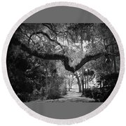 Shadowy Pathway Round Beach Towel