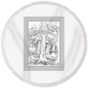 Shady Forest Of Trees Round Beach Towel