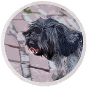 Shaggy Pup Abstract Round Beach Towel