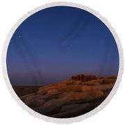 Shahr-e Sukhteh, Iran, At Twilight Round Beach Towel