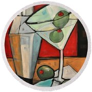 Shaken Not Stirred Round Beach Towel