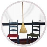 Shaker Chairs And Broom Round Beach Towel