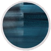 Shallow- Abstract Art By Linda Woods Round Beach Towel
