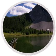 Shallow Mountain Lake Round Beach Towel
