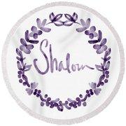 Shalom Wreath- Art By Linda Woods Round Beach Towel