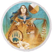 Shaman's Path Round Beach Towel