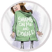 Shame On Trumps Round Beach Towel