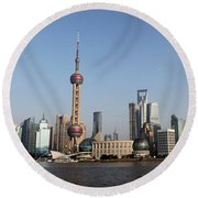 Shanghai Skyline Round Beach Towel