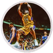 Shaquille O'neal Los Angeles Lakers Oil Art Round Beach Towel