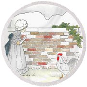 Shara And The Rooster Round Beach Towel