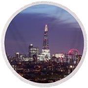 Shard Oxo Tower London Eye Walkie Talkie From Balfron Tower Round Beach Towel