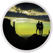Sharing A Monument Valley Sunrise Round Beach Towel