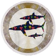Shark Fish Dangerous Painted Cartoon Face Link For Download Option Below Personal N Commercial Uses Round Beach Towel
