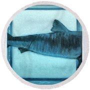 Shark In Magic Cubes - 2 Of 3 Round Beach Towel