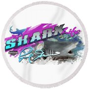 Shark Life Pink Lemon Shark Round Beach Towel