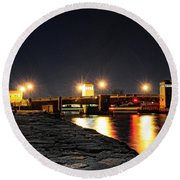 Shark River Inlet At Night Round Beach Towel by Paul Ward