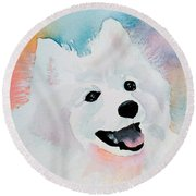 Shasta, A Prince Of A Dog Round Beach Towel