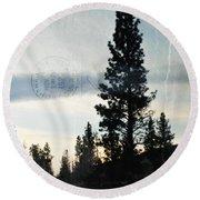 Shasta Trinity National Forest Sunrise Portrait Round Beach Towel