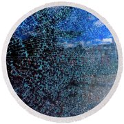 Shattered Blue Round Beach Towel