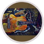 Shattered Melody Round Beach Towel