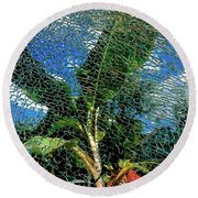 Shattered Plant Round Beach Towel