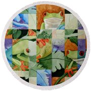 Shattered Reality Xlvii Round Beach Towel