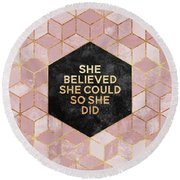 She Believed She Could Round Beach Towel by Elisabeth Fredriksson