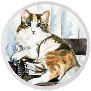 She Has Got The Look - Cat Portrait Round Beach Towel