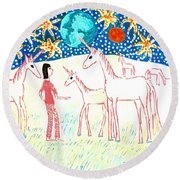She Meets The Moon Unicorns Round Beach Towel