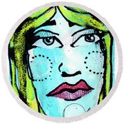 She Was A Handsome Woman Round Beach Towel