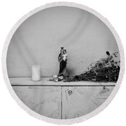 She Who Protects And Helps Round Beach Towel