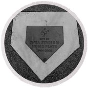 Shea Stadium Home Plate In Black And White Round Beach Towel by Rob Hans
