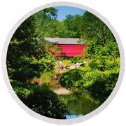 Sheards Mill Bridge - Nockamixon Pa Round Beach Towel