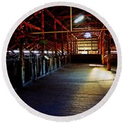 Shearing Shed From A Bygone Era Round Beach Towel