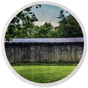 Shed At Camp Pecometh Round Beach Towel