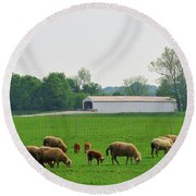 Sheep And Covered Bridge Round Beach Towel