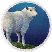Sheep At The Edge Round Beach Towel