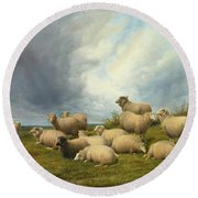 Sheep In A Pasture Round Beach Towel