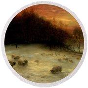 Sheep In A Winter Landscape Evening Round Beach Towel