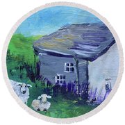 Sheep In Scotland  Round Beach Towel