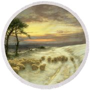 Sheep In The Snow Round Beach Towel