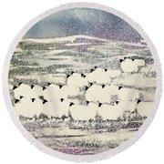 Sheep In Winter Round Beach Towel